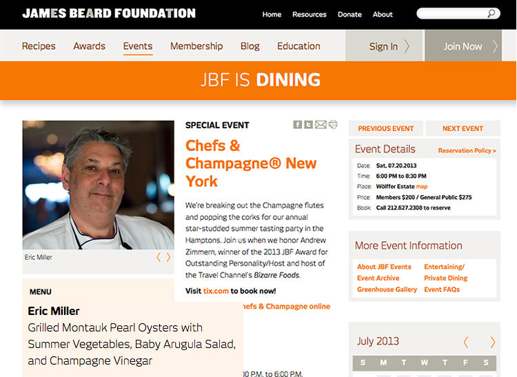 James Beard Foundation - Chefs and Champagne Event - July 20 2013